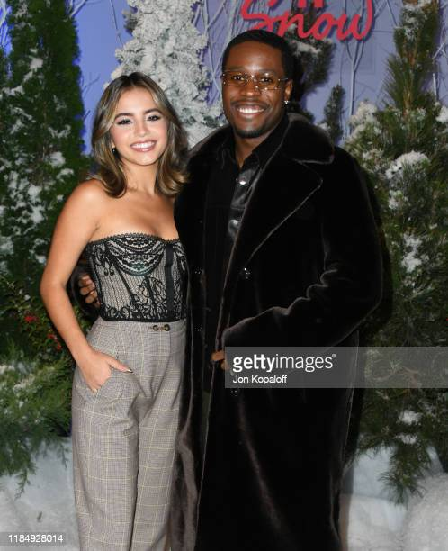 "Isabela Merced and Shameik Moore attend the photocall for Netflix's ""Let It Snow"" at the Beverly Wilshire Four Seasons Hotel on November 01, 2019 in..."