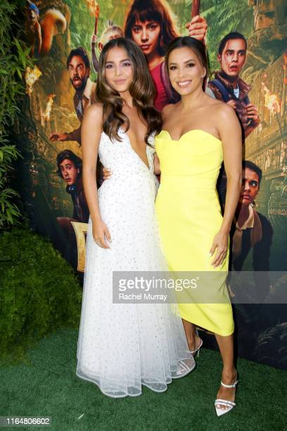 "Isabela Moner and Eva Longoria attend the ""Dora and the Lost City of Gold"" World Premiere at the Regal LA Live on July 28, 2019 in Los Angeles,..."