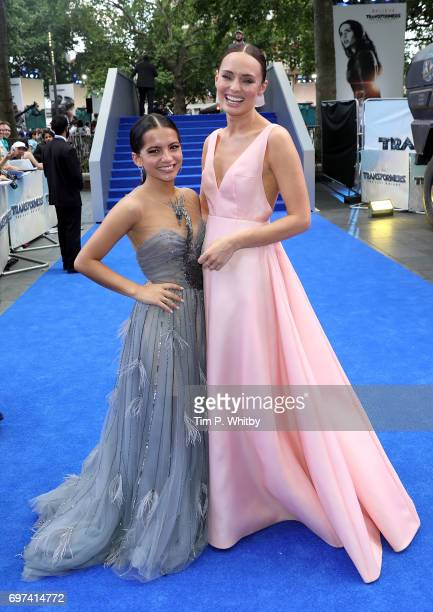 Isabela Moner and Laura Haddock attend the global premiere of 'Transformers The Last Knight' at Cineworld Leicester Square on June 18 2017 in London...
