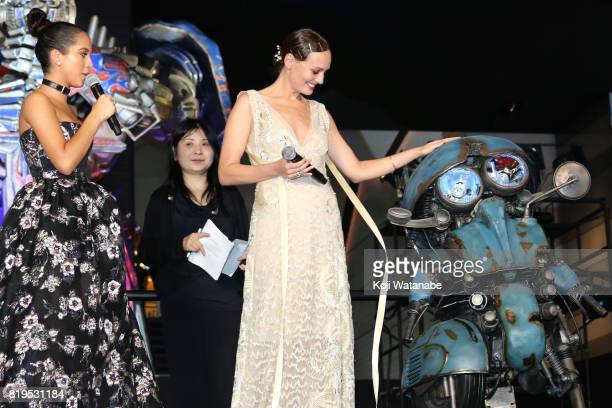 Isabela Moner and Laura Haddock attend the Japanese premiere of 'Transformers The Last Knight' at TOHO Cinemas Shinjuku on July 20 2017 in Tokyo Japan