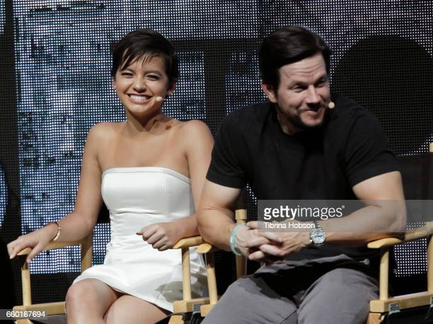 Isabela Moner and Mark Wahlberg speak at Paramount Pictures' presentation highlighting its 2017 summer and beyond during CinemaCon at The Colosseum...