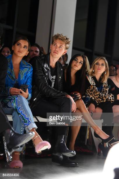 Isabela Moner Austin Butler Vanessa Hudgens and Ashley Benson attend the Jeremy Scott Fashion Show during New York Fashion Week at Spring Studios on...