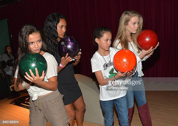 Isabela Moner Sydney Park Breanna Yde and Jade Pettyjohn attend Breanna Yde's 13th Birthday Party at Lucky Strike Lanes at LA Live on June 11 2016 in...