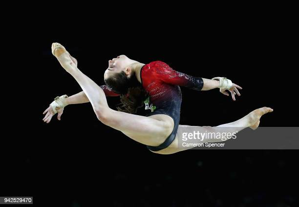 Isabela Onyshko of Canada competes in the floor exercise during the Women's Team Final and Individual Qualification Artistic Gymnastics on day two of...