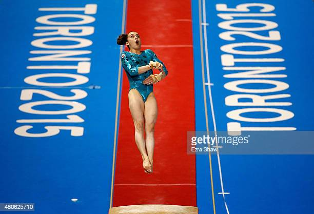 Isabela Onyshko of Canada competes on the vault during the women's all around artistic gymnastics final on Day 3 of the Toronto 2015 Pan Am Games on...