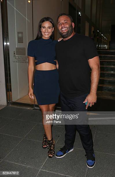 Isabela Rangel and David Grutman arrive at Komodo restaurant to celebrate nightclub owner David Grutman's wedding on April 22 2016 in Miami Florida