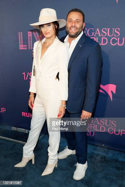 Isabela Rangel Grutman and Dave Grutman attend the 2020 Pegasus World Cup Championship Invitational Series at Gulfstream Park on January 25 2020 in...