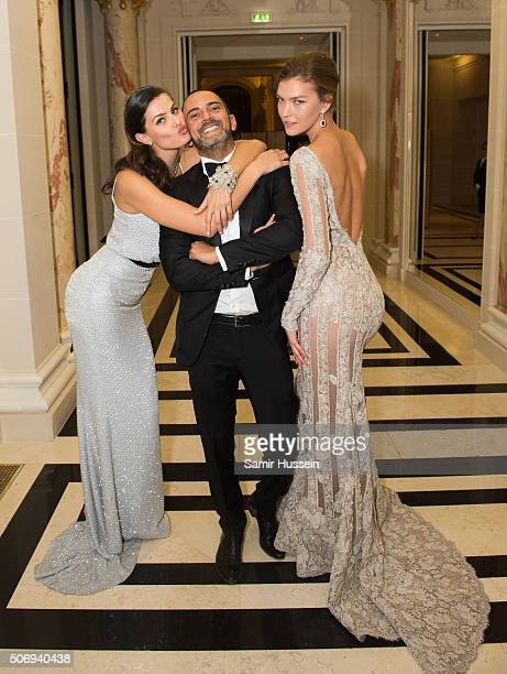 Isabeli Fontana Mohieb Dahabieh and Arizona Muse attend the Ralph Russo and Chopard dinner during part of Paris Fashion Week on January 25 2016 in...