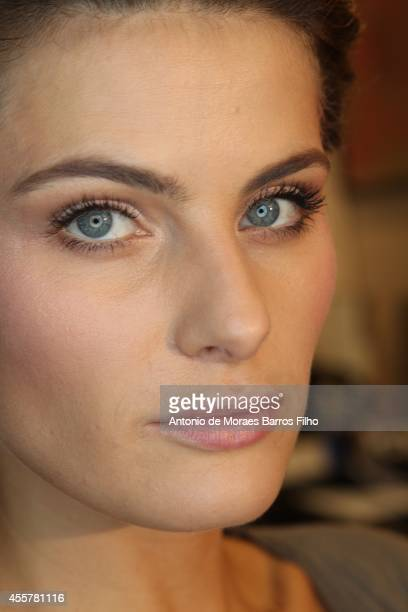 Isabeli Fontana poses backstage at the Versace show as a part of Milan Fashion Week Womenswear Spring/Summer 2015 on September 19 2014 in Milan Italy