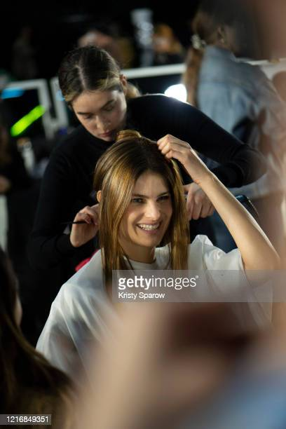 Isabeli Fontana prepares backstage before the OffWhite Womenswear Fall/Winter 2020/2021 show as part of Paris Fashion Week on February 27 2020 in...