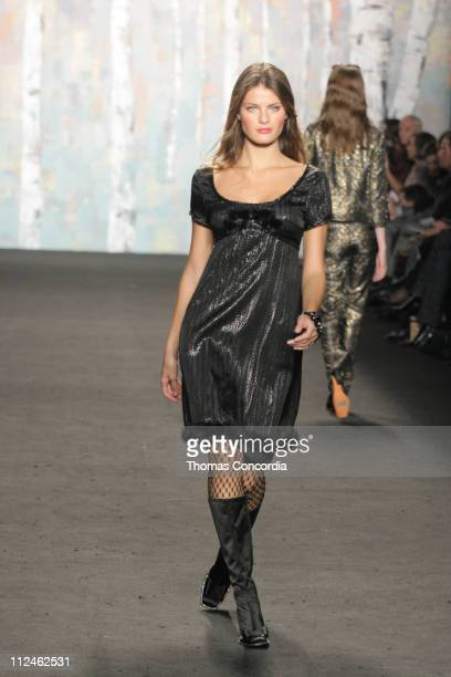 Isabeli Fontana wearing Anna Sui Fall 2005 during Olympus Fashion Week Fall 2005 Anna Sui Runway at The Tent Bryant Park in New York City New York...