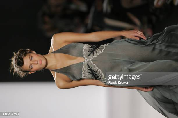 Isabeli Fontana wearing Bill Blass Fall 2005 during Olympus Fashion Week Fall 2005 Bill Blass Runway at The Tent Bryant Park in New York City New...