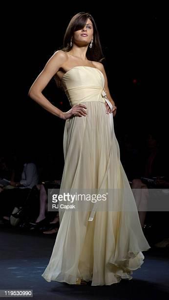 Isabeli Fontana wearing Bill Blass Spring 2004 during MercedesBenz Fashion Week Spring 2004 Bill Blass Runway at Gertrude Tent Bryant Park in New...