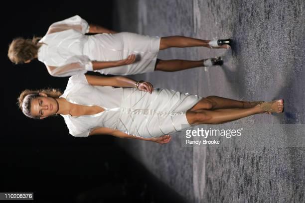 Isabeli Fontana wearing Zac Posen Spring 2005 during Olympus Fashion Week Spring 2005 Zac Posen Runway at Theater Tent Bryant Park in New York City...
