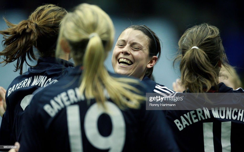 Isabell Bachor (C) of FC Bayern Muenchen celebrates after winning the quarter final match against 1. FFC Frankfurt during the T-Home DFB Indoor Cup at the Boerdelandhalle on January 23, 2010 in Magdeburg, Germany.
