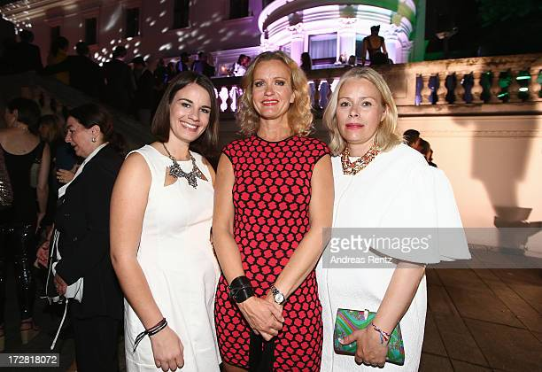 Isabell Braun, Sabine Nedelchev and Kerstin Schneider attend the Burda Style Group Preview - Harper's Bazaar pre launch party during the...