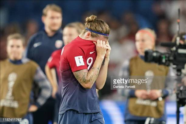 Isabell Herlovsen of Norway after their loss during the 2019 FIFA Women's World Cup France Quarter Final match between Norway and England at Stade...