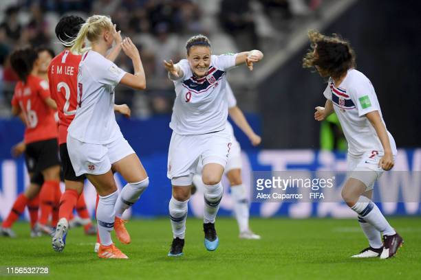Isabell Herlovsen of Norway celebrates after scoring her team's second goal during the 2019 FIFA Women's World Cup France group A match between Korea...