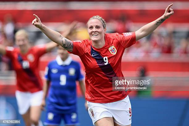 Isabell Herlovsen of Norway celebrates as she scores their third goal during the FIFA Women's World Cup Canada 2015 Group B match between Norway and...