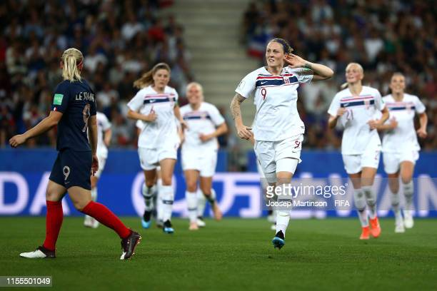 Isabell Herlovsen of Norway celebrates her team's first goal during the 2019 FIFA Women's World Cup France group A match between France and Norway at...