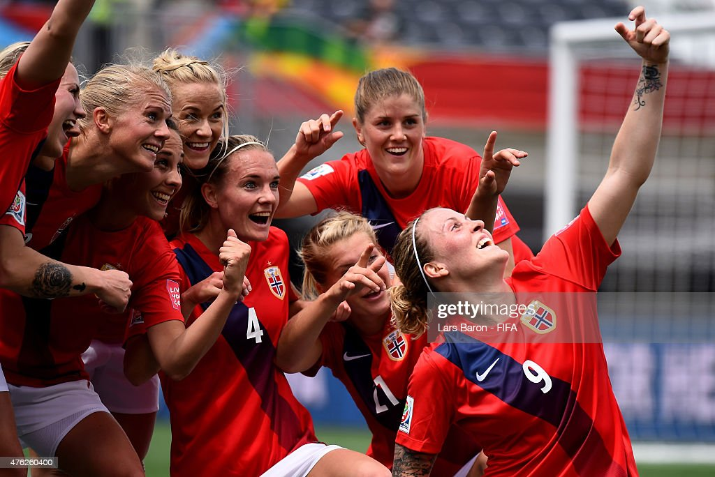Isabell Herlovsen of Norway celebrates with team mates after scoring her teams third goal during the FIFA Women's World Cup 2015 Group B match between Norway and Thailand at Lansdowne Stadium on June 7, 2015 in Ottawa, Canada.