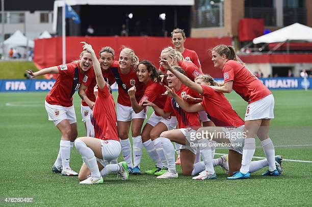 Isabell Herlovsen of Norway celebrates with team mates as she scores their third goal during the FIFA Women's World Cup Canada 2015 Group B match...
