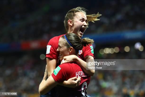 Isabell Herlovsen of Norway celebrates with teammate Caroline Graham Hansen after scoring her team's first goal during the 2019 FIFA Women's World...