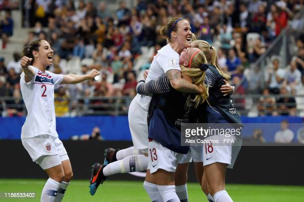 Isabell Herlovsen of Norway celebrates with teammates after scoring her team's second goal during the 2019 FIFA Women's World Cup France group A...