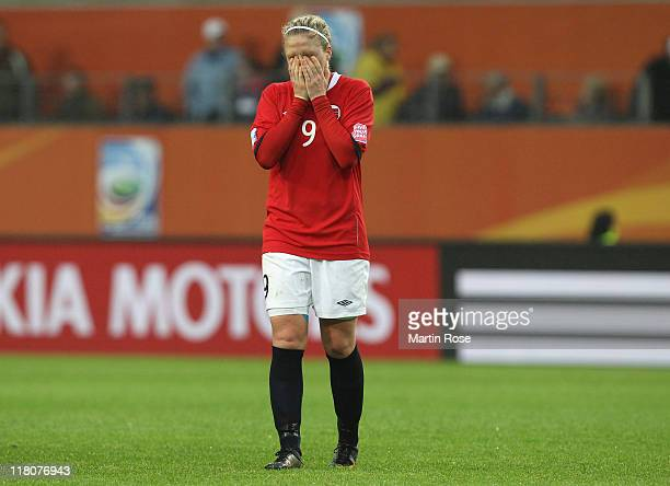Isabell Herlovsen of Norway looks dejected after the FIFA Women's World Cup 2011 Group D match between Brazil and Norway at Wolfsburg Arena on July...