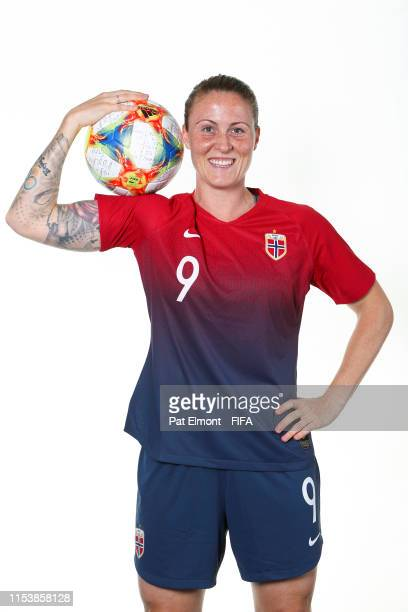Isabell Herlovsen of Norway poses for a portrait during the official FIFA Women's World Cup 2019 portrait session at Hotel Novotel Reims Tinqueux on...
