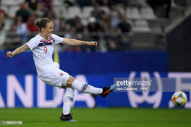Isabell Herlovsen of Norway scores a penalty for her team's second goal during the 2019 FIFA Women's World Cup France group A match between Korea...