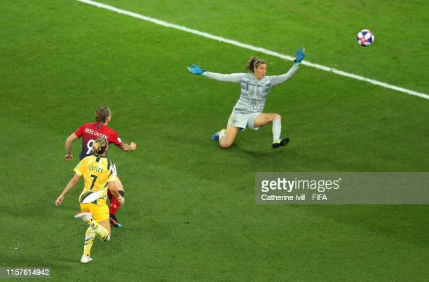 Isabell Herlovsen of Norway scores her team's first goal past Lydia Williams of Australia during the 2019 FIFA Women's World Cup France Round Of 16...