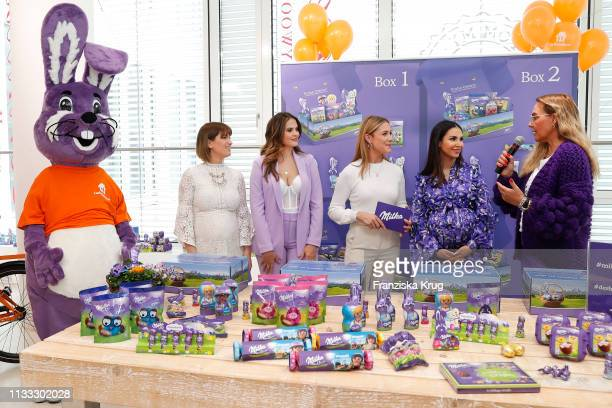 Isabell Horn Hana Nitsche Alina Merkau Sila SahinRadlinger and Natascha Ochsenknecht during the Milka Easter Event with Lieferandode in Duesseldorf...