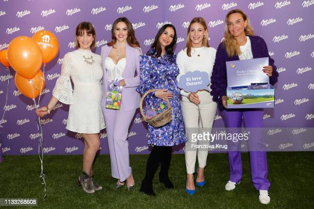 Isabell Horn Hana Nitsche Sila SahinRadlinger Alina Merkau and Natascha Ochsenknecht during the Milka Easter Event with Lieferandode in Duesseldorf...
