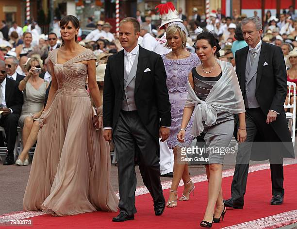Isabell Kristensen , Helene Mercier Arnault , Bernard Arnault and guests attend the religious ceremony of the Royal Wedding of Prince Albert II of...