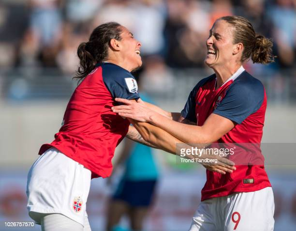 Isabell Lehn Herlovsen and Ingrid Moe Wold of Norway celebrate a goal during Norway v Netherlands FIFA Womens World Cup 2019 Qualification at...