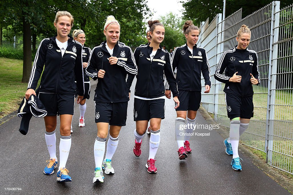Isabell Linden, Leonie Maier, Sara Daebritz, Melanie Leupolz and Kim Kulig during the training session of Women's Team Germany at training ground Ueberruhr on June 13, 2013 in Essen, Germany.