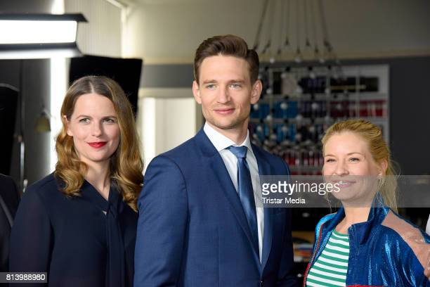 Isabell Polak, August Wittgenstein and Birte Hanusrichter during 'Jenny - Echt gerecht' RTL TV series Set Visit In Berlin on July 13, 2017 in Berlin,...