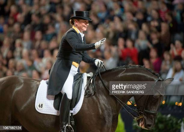 Isabell Werth of Germany rides her horse Weihegold Old during the Grand Prix dressage freestyle event at Sweden international horse show at the...