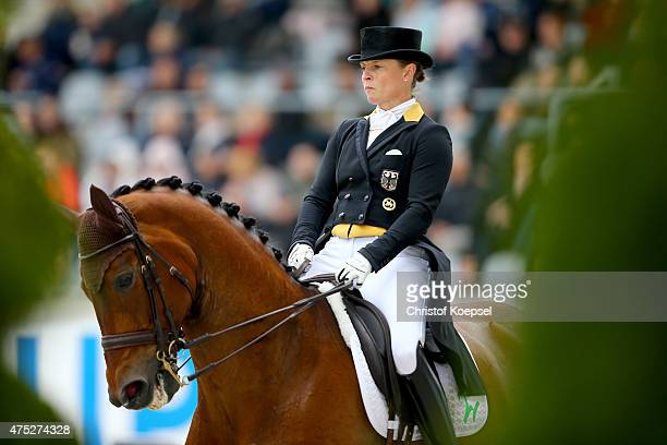 Isabell Werth of Germany rides on Don Johnson FRH of the dressage GrandPrix CDI competition during the 2015 CHIO Aachen tournament at Aachener Soers...
