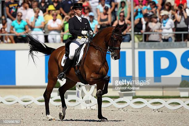 Isabell Werth of Germany rides on Satchmo during the Dressage Grand Prix Freestyle CDIO competition of the CHIO on July 18 2010 in Aachen Germany
