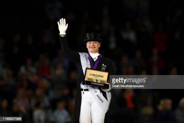 Isabell Werth of Germany riding Bella Rose celebrates winning the Gold meal on Day 4 in the Longines Grand Prix Special FEI Dressage European...