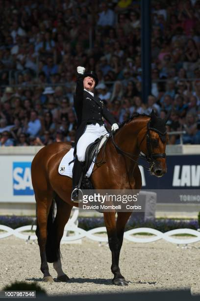 Isabell Werth of Germany riding Emilio during the dressage individual Final Grand Prix of Aachen Freestyle to music CDIO Deutsche Bank Prize in...