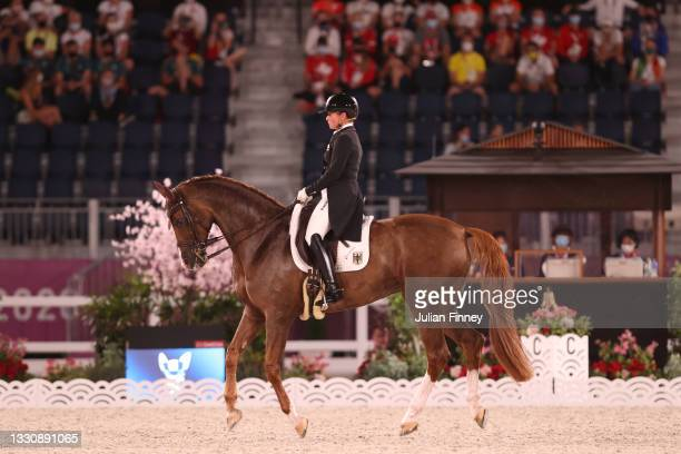 Isabell Werth of Team Germany riding Bella Rose 2 competes in the Dressage Team Grand Prix Special Team Final on day four of the Tokyo 2020 Olympic...