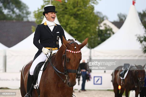 Isabell Werth takes part in the opening ceremony of the FEI European Championship 2015 media night on August 11 2015 in Aachen Germany