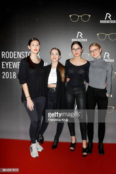 Isabella Ahrens Enya Elstner Milana Bruges von Pfuel and Lucia Strunz during the Rodenstock Eyewear Show on January 12 2018 in Munich Germany