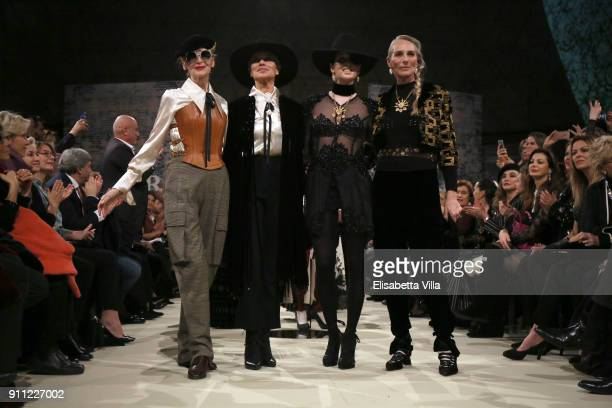 Isabella Albonigo, Gloria Guida, Gessica Notaro and Elisabetta Dessy attend the Gattinoni show during Altaroma on January 27, 2018 in Rome, Italy.