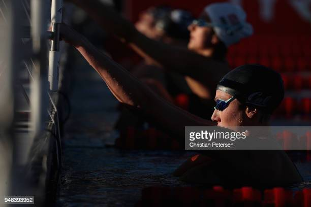Isabella Arcila Hurtado prepares to compete in the Women's 50m Backstroke knock out during day three of the TYR Pro Swim Series at the Skyline...