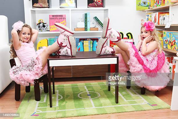 Isabella Barrett and Eden Wood attend Tiny Tots Mini Mogul Fashion Event at Babestas on July 26 2012 in New York City