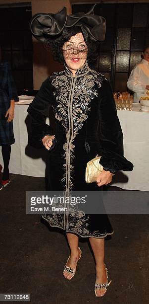 Isabella Blow attends a private viewing of the exhibit Aperiatur Terra by artist Anselm Kiefer at the NCP Car Park January 25 2007 in London England